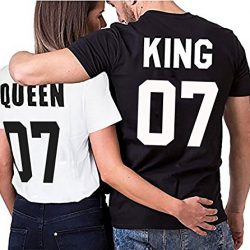 Camiseta para parejas King and Queen (WhyKik): Diferentes Colores y tallas S-4XL