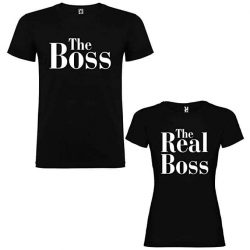 Pack de 2 Camisetas Negras para Parejas The Boss y The Real Boss Blanco